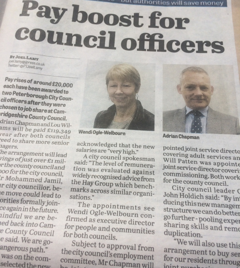 Peterborough City Council Officer Pay Rises