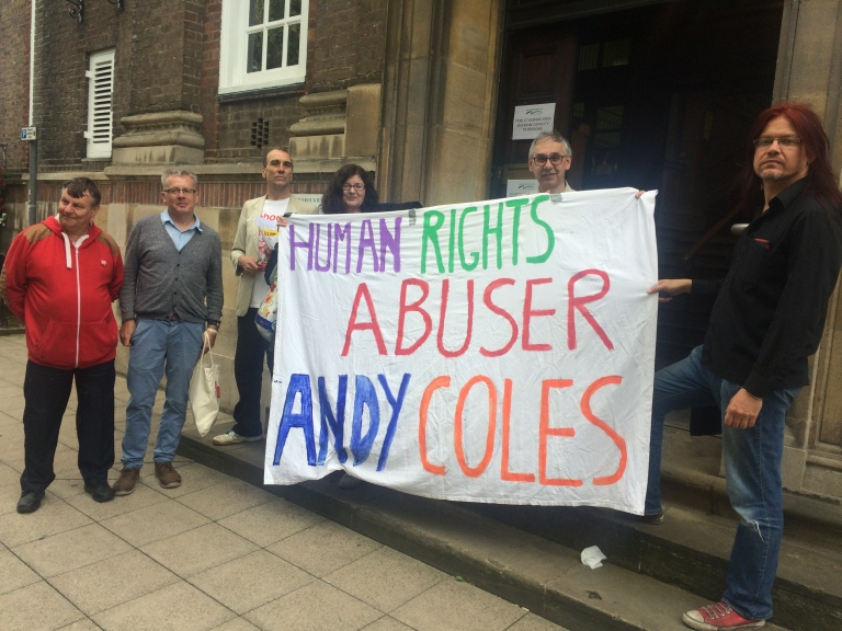 Protesting against Cllr Andy Coles